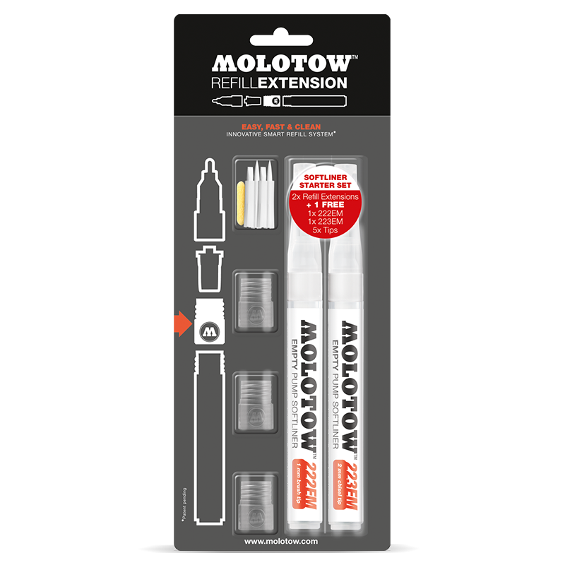 Refill Extension Softliner 1mm soft brush / 2mm soft chisel Starter Kit