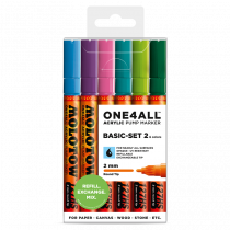 MOLOTOW ONE4ALL™ 127HS 2mm 6x - Basic Set 2 - Clearbox