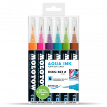Aqua Ink Pump Softliner 1mm soft brush - Basic-Set 2 - Clear Box