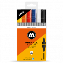 MOLOTOW ONE4ALL™ Acrylic Twin 1,5mm/4mm 6x - Basic-Set 1 - Clearbox