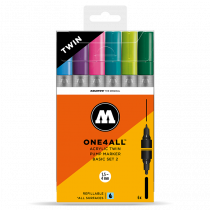 MOLOTOW ONE4ALL™ Acrylic Twin 1,5mm/4mm 6x - Basic-Set 2 - Clearbox