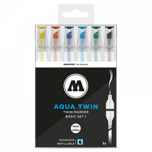 AQUA TWIN 1mm brush / 2-6mm chisel 6x - Basic-Set 1 - Clear box